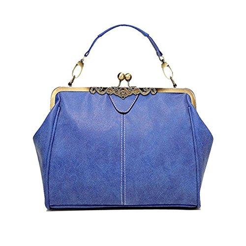 Abuyall Women Retro Handnbag Vintage Kiss Lock Imitation Leather Shoulder Bag Purse Minimalist Handbag Totes Bag Satchel I