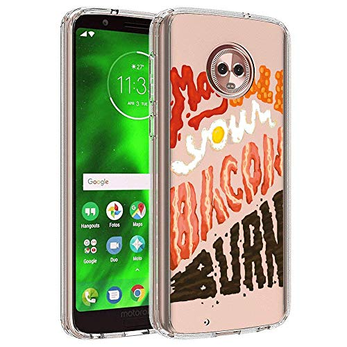 Customized Protective Cover with Slim Soft Durable TPU Ultra-Clear Silicone UV Printing Bacon Quotes Phone Case for Moto G6