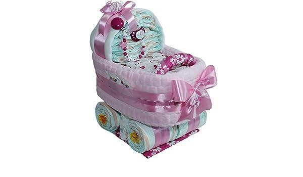 Gran pañales carro Baby Girl Incluye Cadena para chupete con o sin ...