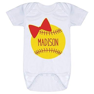 e3dc6908f Amazon.com: Custom Softball Baby & Infant Onesie | Softball Bow ...