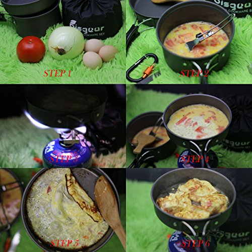 16pcs Camping Cookware Stove Carabiner Folding Spork Set Bisgear(TM) Outdoor Camping Hiking Backpacking Non-stick Cooking Non-stick Picnic Bowl Pot Pan , Folding Spork , Mini Stove with Piezo Ignition