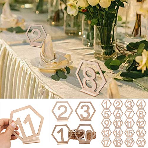NIHAI 20pcs Table Numbers, 1-20 Wooden Wedding Card Set with Holder Base for Wedding, Party, Restaurants, Hotels, Receptions, Events or Catering Decoration- 11x10cm