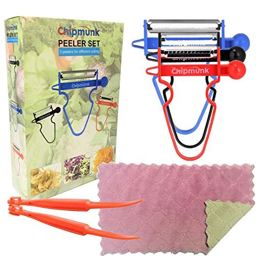 (Magic Trio Peeler Set Use as Vegetable Peeler Potato Peeler Veggie Peeler Julienne Peeler Orange Peeler Garlic Peeler with 2 Orange Peeler + 1 Kitchen Towels (6 pcs))