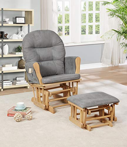 Pecan Upholstered Chair - Naomi Home Brisbane Glider & Ottoman Set Pecan/Dark Gray