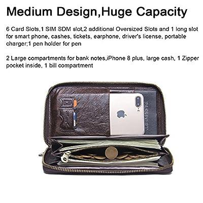Contacts Mens Genuine Leather Checkbook Organizer Phone Purse Zipper Wallet Dark Coffee