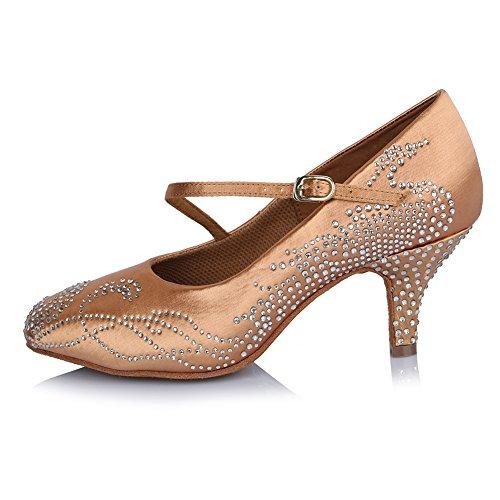 Scarpe Da Ballo Latino Da Donna Roymall Con Scarpe Da Ballo Tango Ballroom Salsa Tango, Modello Afct306 Beige-1