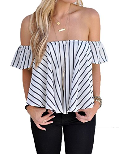 BOBIBI Women's Off Shoulder Cute Loose Blouse Crop Tops