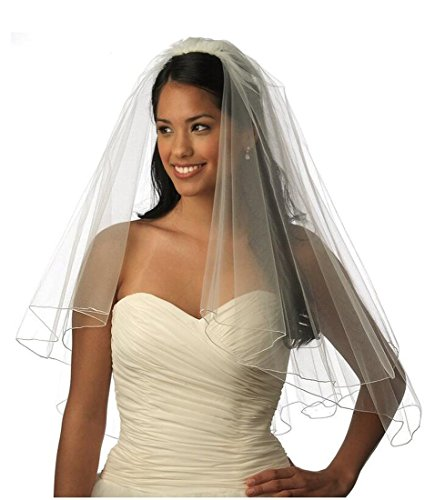 Top-Sexy Ivory Two Tiers Short Veil with lined Pencil Edge Comb Wedding Veil 08