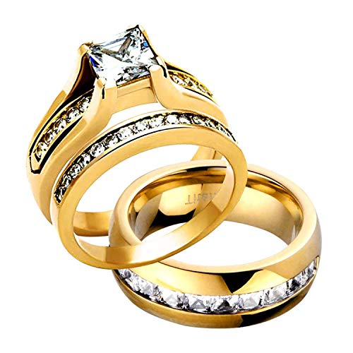 FlameReflection Stainless Steel Trio Wedding Sets for him and her 14k Gold Plated Princess CZ Cubic Zirconia Couple Engagement Ring Bridal Set & Titanium Princess CZ Men's Wedding Band