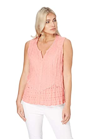 f3522e69c05b65 Roman Originals Womens Crinkle V-Neck 100% Cotton Sleeveless Button Blouse  Top - Ladies Summer Sun Fitted Casual Office Work Tunic Shirts Lace Tops  Blouses ...