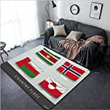 Vanfan Design Home Decorative 383303506 wave country flag with shadows and screws Modern Non-Slip Doormats Carpet for Living Dining Room Bedroom Hallway Office Easy Clean Footcloth