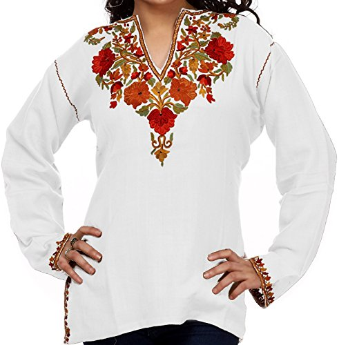 V-Neck-Ladies-Cotton-Tunic-with-Rose-Embroidery-Customizable