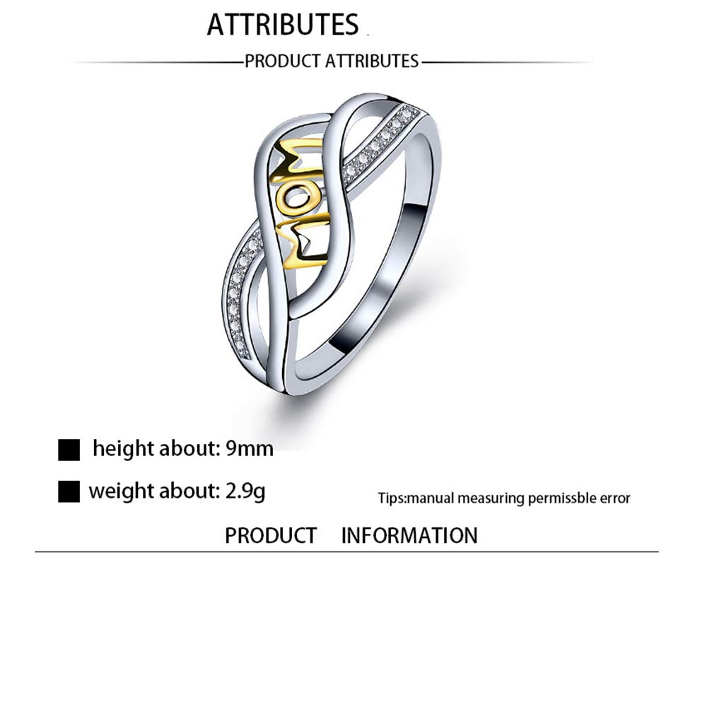 8 Toocy Love Mom Ring Silver Love of Mom Ring Plated 14k Letters Christmas