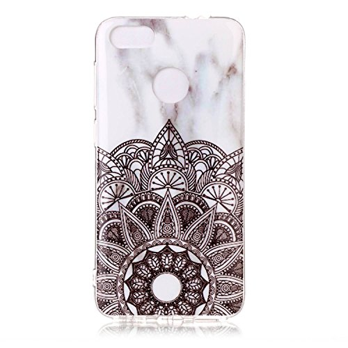 "P9 Lite Mini Case, SsHhUu Ultra Slim [Marble Pattern] Flexible Soft Rubber TPU Skin Case Bumper Silicone Gel Anti-Scratch Cover for Huawei P9 Lite Mini (5.0"") Mandala Flower"