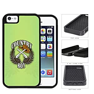 Country Boy Sign with Guns Cowboy Hat and Brown Wings with Green iPhone 5 5s (2-piece) Dual Layer High Impact Cell Phone Case