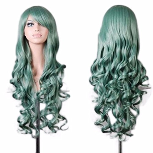 [Wigs, Hatop Women Lady Long Wavy Curly Hair Anime Cosplay Party Full Wig Wigs (Green)] (1950s Wig)