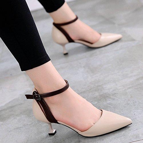 GTVERNH-Autunno Scarpe Da Donna British Vento Moda Superficiale Solo Scarpe Una Parola Fibbia Colore Sharp Scarpe Con Tacchi 37 Riso Bianco