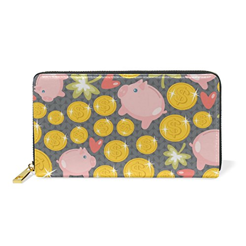 Zip Clutch Wallet Womens Pig Handbags Pattern And TIZORAX Organizer 6 Purses Around a0qgFf4