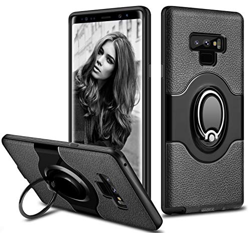 Galaxy Note 9 Case, ELOVEN Ultra Slim Fit Samsung Note 9 Case Ring Holder Shockproof Kickstand Cover Anti-Scratch Dual Layer Bumper Grip Protective Case for Samsung Galaxy Note 9 (Black)