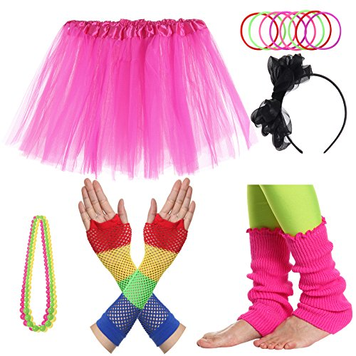 JustinCostume Girls' 80's Accessories Headwear Skirt Leg Warmers Gloves Pink A (80 Outfits)