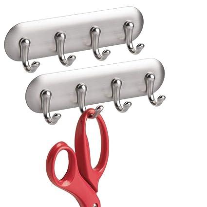 mDesign Juego de 2 cuelga Llaves Affix autoadhesivos – Colgadores de Llaves con 4 Ganchos para Colgar en la Cocina, la Oficina o el Pasillo – Perchero ...