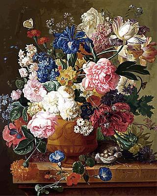 FidgetFidget Floral Bouquet Hand Painted Design Needlepoint Canvas 137 18CT Mono Deluxe 14