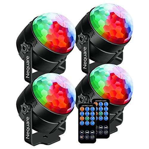 Nequare Party Lights Sound Activated Disco Ball Strobe Light 7 Lighting Color Disco Lights with Remote Control for Bar Club Party DJ Karaoke Wedding Show and Outdoor (4 PACKS) ()
