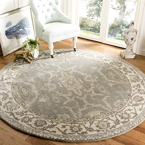 Safavieh Royalty Collection ROY993A Grey and Cream Traditional Oriental Wool Round Area Rug (7' in Diameter) - Rug Area Collection Royalty
