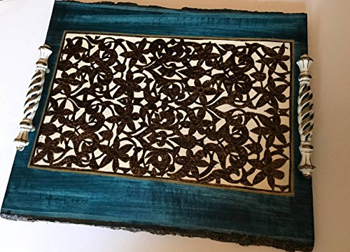 Handmade and Handcrafted Alhambra Arabesque Design Decorative Wooden Coffee Table or Ottoman Tray. Sophisticated Home Or Office Decor With A Little Bit of History