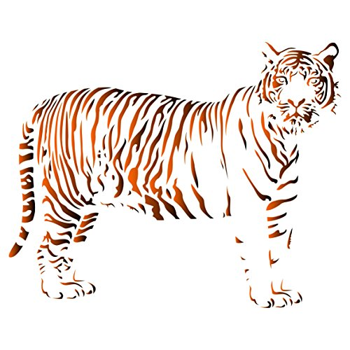 Wild Animal Stencils (Stencils for Walls - Tiger Stencil - 8 x 6.5 inch (S) - Reusable African Animal Wildlife Stencils for Painting - Use on Walls, Floors, Fabrics, Glass, Wood, and More…)