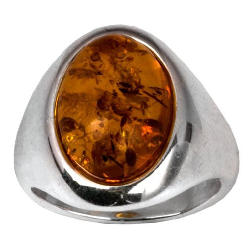 Amber Sterling Silver Oval Stone Classic Ring - Oval Amber Stone