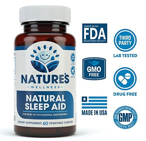 Natural Sleep Aid for Adults by Nature's Wellness, 60-Count | 100% Herbal Remedy Sleeping Pills, Safe & Effective Natural Insomnia Relief Supplement | Non-Habit Forming Blend Allows Deep Sleep & Rest by Natures Wellness (Image #1)'