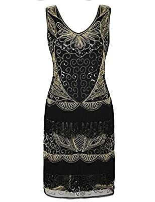 kayamiya Women's Flapper Dresses 1920s V Neck Sequin Beaded Deco Fringed Cocktail Gatsby Dress