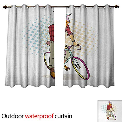 - Anshesix Retro Outdoor Ultraviolet Protective Curtains Hipster Goat on Bicycle Fashion Model Horns Hooves Teenager Boy Colorful Artwork W63 x L72(160cm x 183cm)