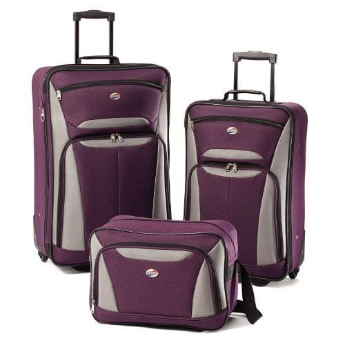 American Tourister Luggage Fieldbrook II 3 Piece Set, Purple/Grey New (Piece Tourister American 3)