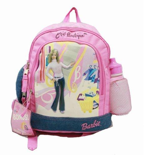 """Zaino da bambini, piccolo, motivo """"Barbie"""", con bottiglia d'acqua, colore: rosa, in tessuto Denim, nuova 15748-2 scuola"""