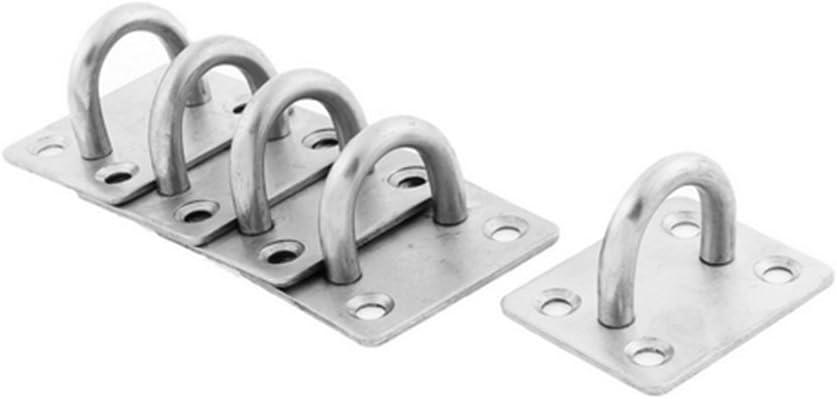 OUNONA U diseño Techo Pared Gancho acero inoxidable 5pcs 4 agujeros - talla M