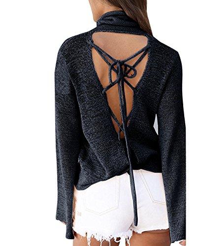 Minetom Mujer Otoño Jerséis Manga Larga de Punto Moda Suéter Tipo con Cuello de Tortuga Atractivo Escotado por Detrás Jerséis Negro