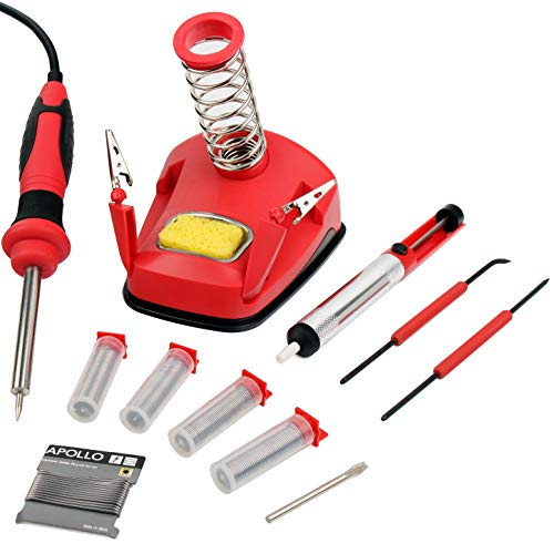Hi-Spec All-In-One 30W Soldering Station inc. Soldering Iron, Helping Hands & 9pc Accessory Set - Desoldering Pump, Tin Alloy Solder, De-Solder Alloy & 2pc Solder Assist Tools by Hi-Spec Tools