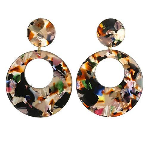 (Cathy Clara Women Creative Round Acrylic Stud Earrings Fashion Multicolor Round Earrings Sterling Silver Hoop Earrings For Women)
