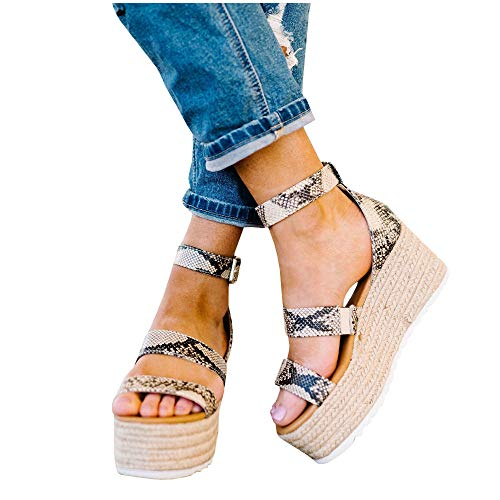 LAICIGO Womens Platform Espadrille Wedges Peep Toe High Heel Sandals with Ankle Strap Buckle Up
