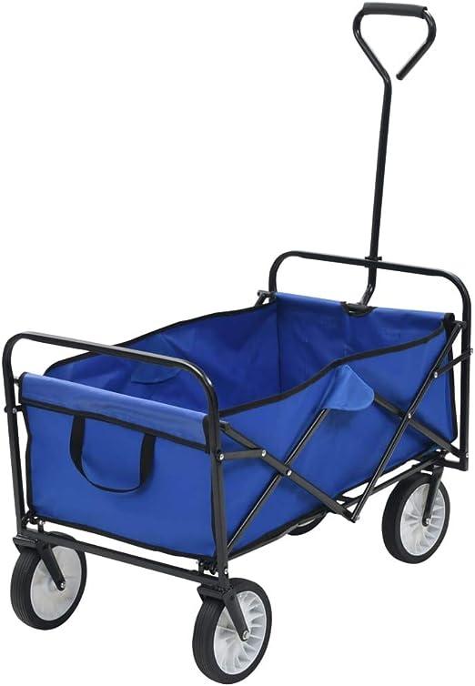 vidaXL 143779 - Carrito de jardín plegable, color azul: Amazon.es: Bricolaje y herramientas