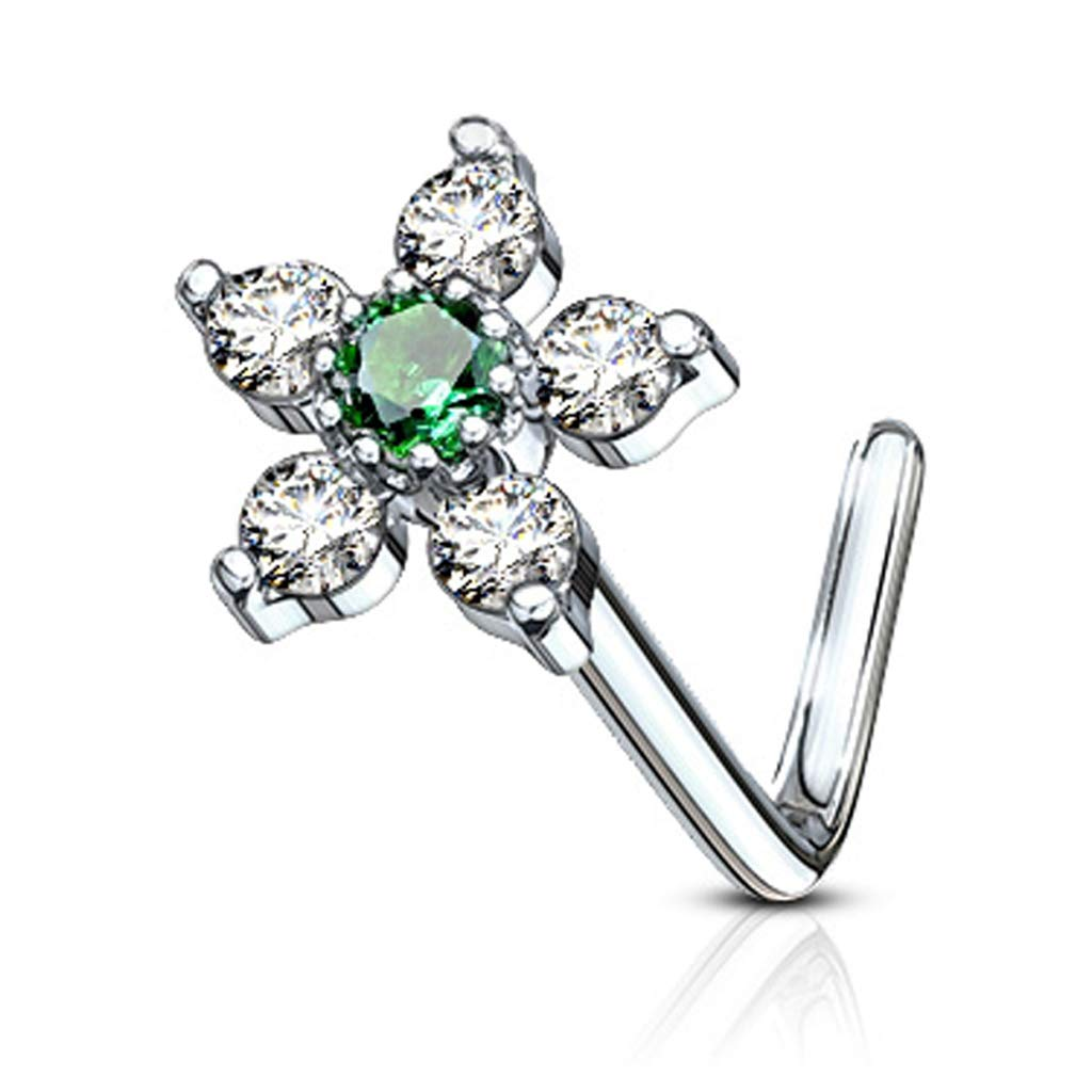 20G FifthCue 6 CZ Flower Top 316L Surgical Steel L Bend Nose Stud Ring - Choose Color JQNOL-625