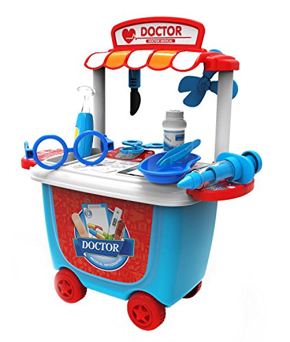 FLYZOE Medical Toys Doctor Play Sets Simulation Medicine Box Baby Kids Funny Toys with Carry Case (Blue)