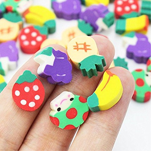 Vikenner 50 Pcs Mini Fruit Shaped Erasers Cute Cartoon