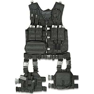 Ultimate Arms Gear Tactical Assault Scenario Stealth Black MOLLE 10 Piece Ambidextrous Complete Kit Set Deluxe Modular Web Vest w/ Hydration Bladder Pocket + 2 Open-Top Double Mag Ammo Pouches + Pistol Mags + Cell Phone Radio Pouch + Adjustable Duty Belt