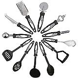 Kabalo 12 Stück Edelstahl-Küche, Geschirr Set - hergestellt mit Nylonhandgriffe