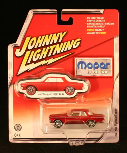 1962 Plymouth Fury  37   Mopar Or No Car   2005 Johnny Lightning 1 64 Scale Die Cast Vehicle   Bonus Magnet