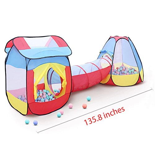 GrowthPic Kids Play Tent Set with Tunnel, Large Children Playhouse, Pretend Teepee Ball Pit for Toddlers Indoor and Outdoor Pop-up Play