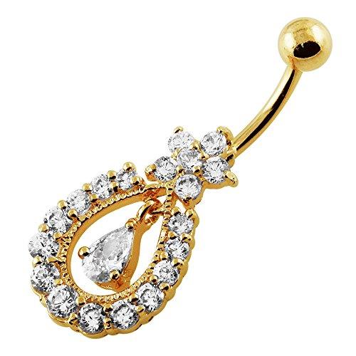 Or 18 carats plaqué sur lustre clair CZ pierres précieuses fleurs pendantes 925 Sterling Silver ventre Bar